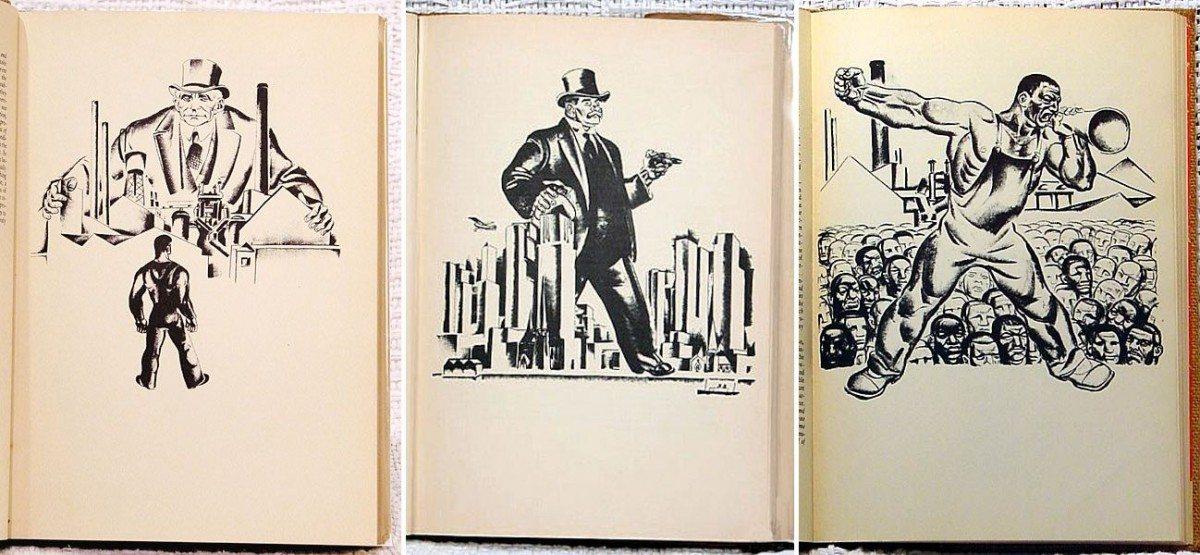 Hugo Gellert (May 3, 1892 – December 9, 1985) var en ungarnsk-Amerikansk illustrator and murmaler. Han illustrerede en udgave af Karl Marx' 'Capital' in Lithographs, New York 1934. De valgte illustrationerer er fra side 3 Primary Accumulation, Secret of primary accumulation [2 of 3], side 14. PRIMARY ACCUMULATION, Origin of the industrial capitalist [1/5] og side 19. PRIMARY ACCUMULATION, Historical tendency of capitalist accumulation