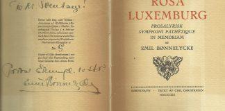 Omslag til Rosa Luxemburg digtet af Emil Bønnelycke.