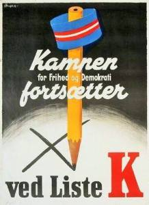 "DKP valgplakat folketingsvalget 1945. Kilde: <a href=""https://www.facebook.com/photo.php?fbid=2140848182842423&set=picfp.100007517862456&type=3&theater"">Facebook</a>"