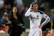 2011 May 14: Los Angeles Galaxy midfielder David Beckham #23 getting interviewed by FOX Sports after the Major League Soccer game between Sporting Kansas City and the Los Angeles Galaxy at the Home Depot Center. The Galaxy defeated Sporting with a final score of 4-1.