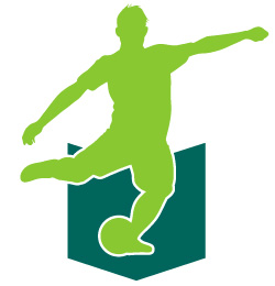 Pro soccer player kicking a soccer ball. Link to soccer practice book for U16 to adult.
