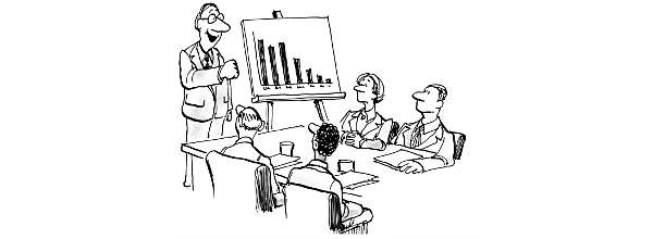 Cartoon: Business meeting discusses bar chart
