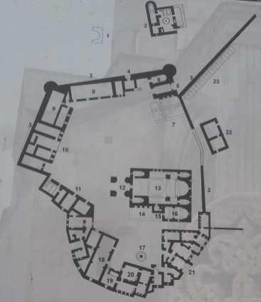 Plan du monastère de Talev actuellement.
