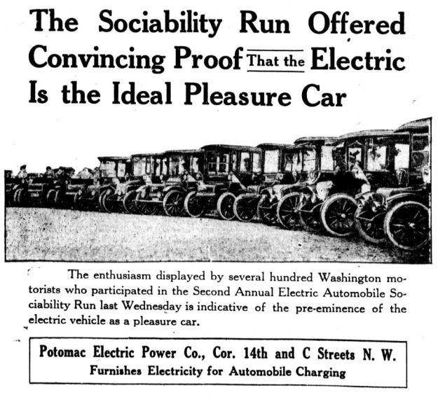 Second Annual Electric Automobile Sociability Run in Washington DC