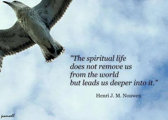 Photo of bird flying and words from Henry Nouwen: The spiritual life does not remove us from the world but leads us deeper into it.