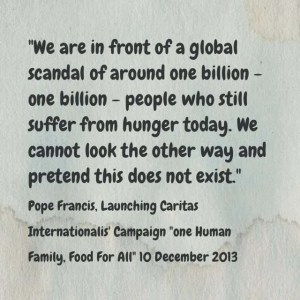 """""""We are in front of a global scandal of around one billion - one billion - people who still suffer from hunger today.  We cannot look the other way and pretend this does not exist."""" Pope Francis, launching Caritas Internationalis'' campaign One Human Family, Food for All, 10 December 2013"""