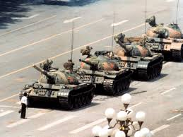 Man blocking tank, Tianenmen Square, 5 June 1989.