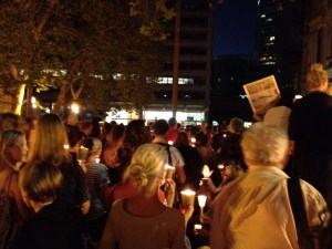 photo of civil society action.  Rally for refugees.