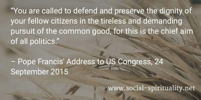 """You are called to defend and preserve the dignity of your fellow citizens in the tireless and demanding pursuit of the common good, for this is the chief aim of all politics."" Pope Francis' Address to US Congress, 24 September 2015"