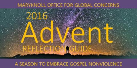 Cover of Maryknoll Office for Global Concerns Reflection Guide for Advent 2016 on the theme of nonviolence.