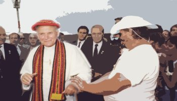 Photo of John Paul II at Alice Springs. Feature image from NATSICC resource for the 30th anniversary of the Alice Springs address
