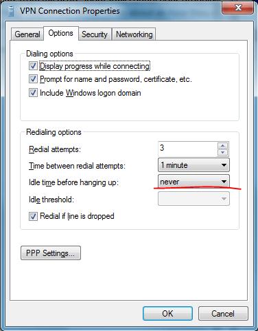 Windows 7 drops VPN connection after 1 Hour