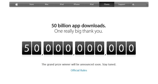 Apple, App Store, downloads, 50 billion,