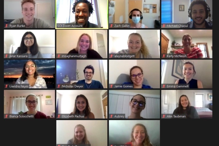The SCI AmeriCorps program's 2020 cohort during their virtual orientation.