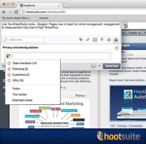 Google Plus public on HootSuite