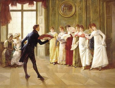 Just imagine yourself as this 18th-century play boy with all these ladies lining up to dance with you and you'll have no problem asking someone out to dance!