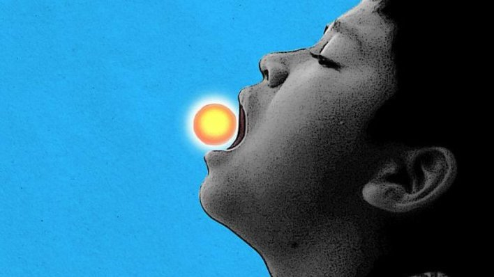 Illustration of a child eating a vitamin that looks like the Sun