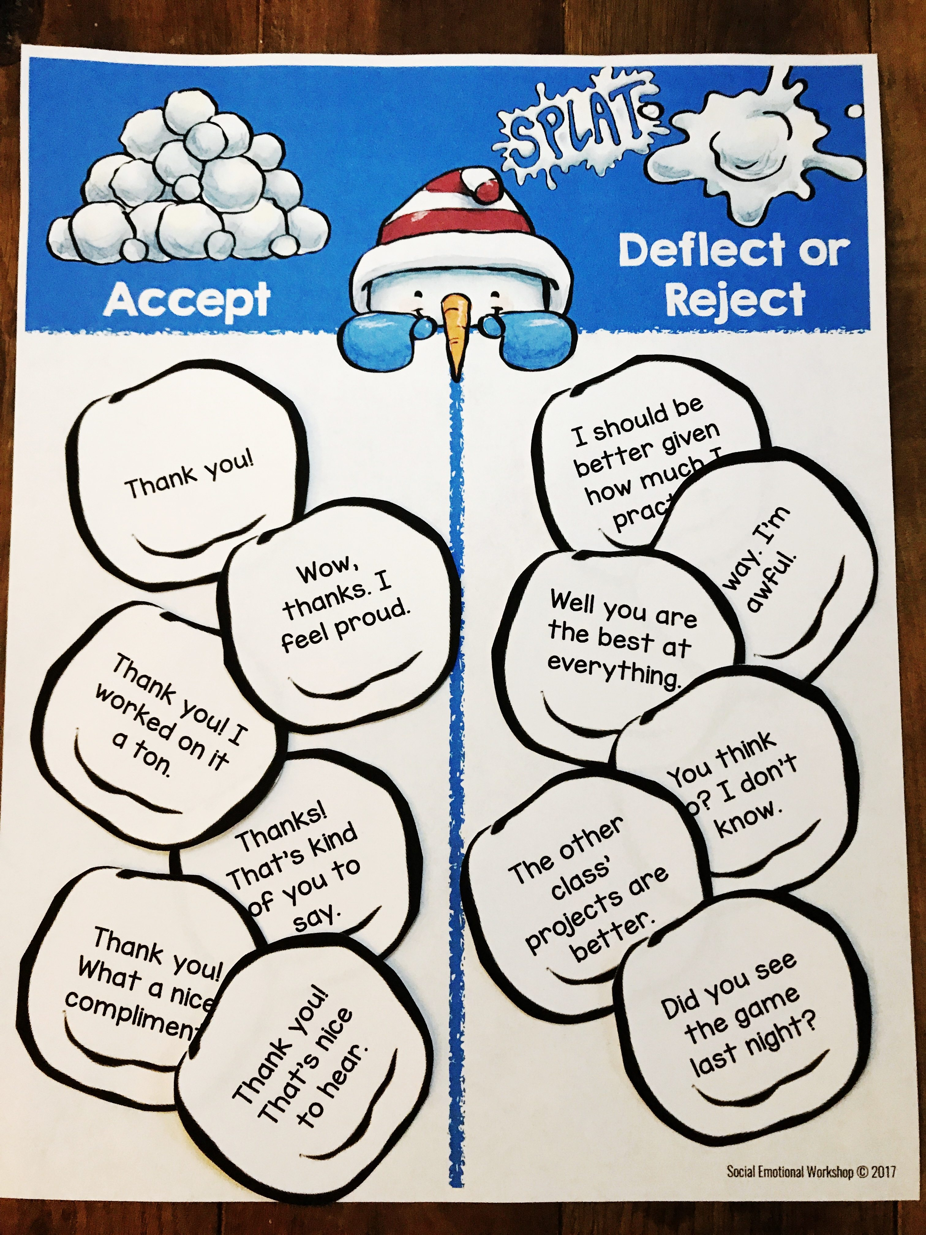 teaching students to learn to accept compliments by recognizing not so great responses.