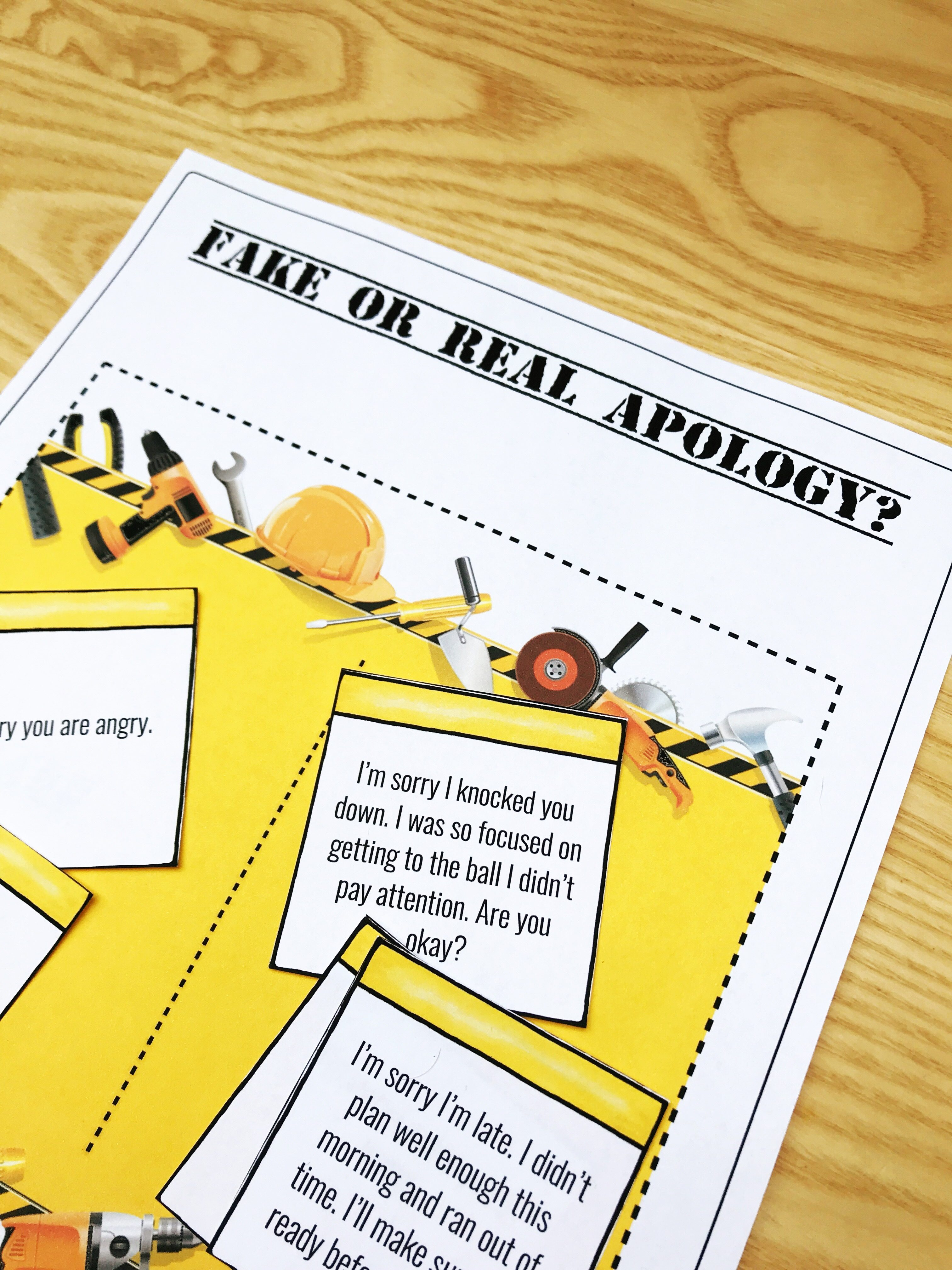 Is it a real or fake apology? Counseling sorting activity