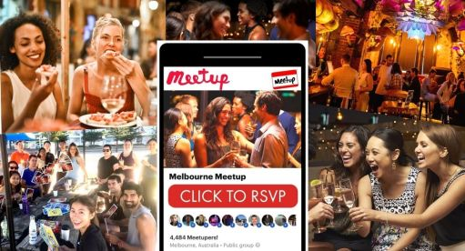 picture of women and groups of people smiling at social events and black Iphone with meetup app open with click to rsvp on screen