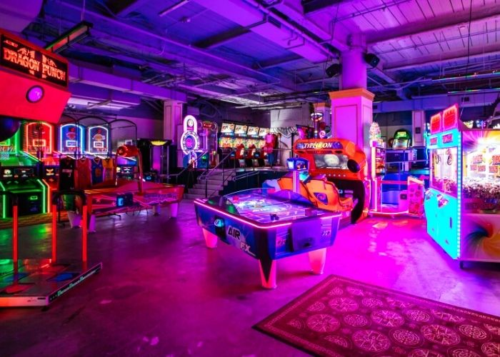 adult only play ground arcade at b. lucky and sons melbourne central with arcade games and neon lights