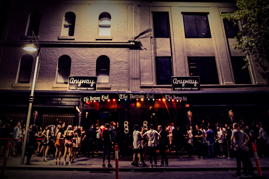 large group of people lining up on little collins street Melbourne for the bottom end treat nightclub