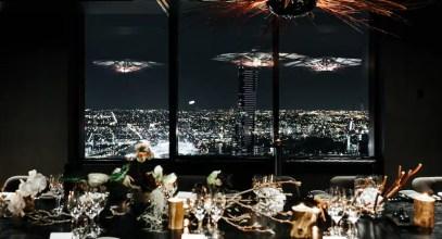 Melbourne cbd view from inside the vue de monde rooftop restaurant