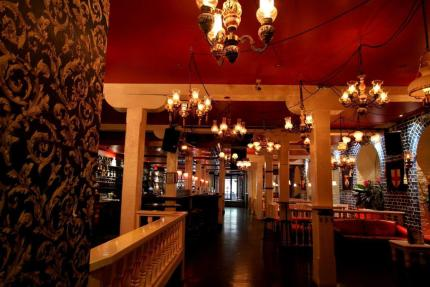 red roof and hanging lights inside the bottom end irish bar in cbd