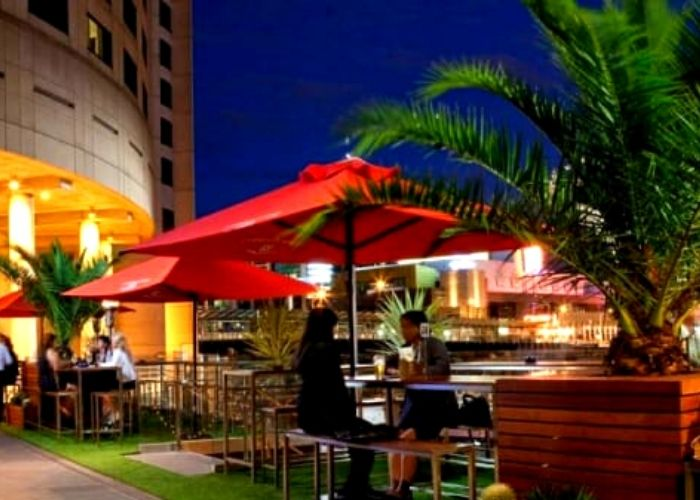 couple sitting in outdoor beer garden at night alone the yarra river at the wharf hotel with palm tree