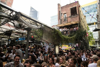 large urban hip hop music crowd at festival in melbourne cbd section 8