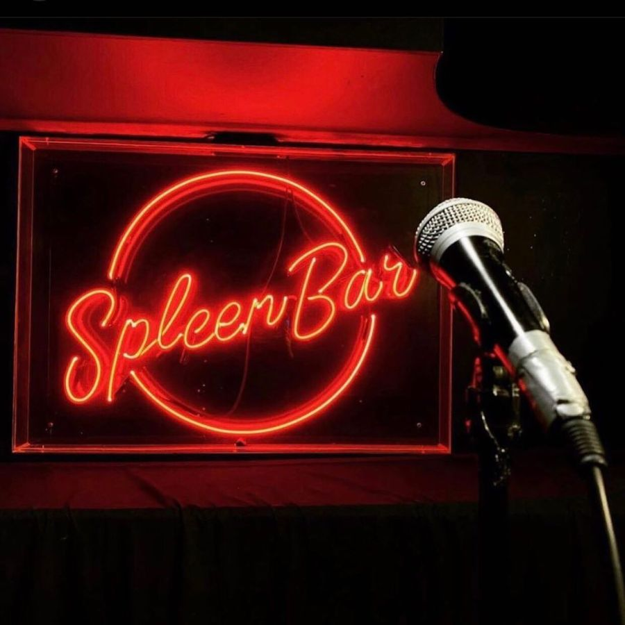 black microphone and red neon spleen bar sign