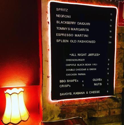 bar menu with spritz negroni daiquiri magarita espresso artini cheese burger and chips