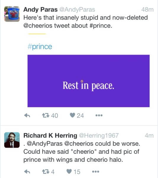 brands react to prince - cheerios