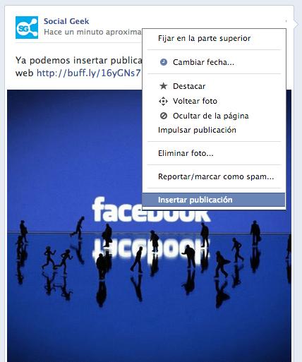 Cómo insertar una publicación de Facebook
