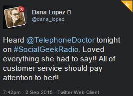 Dana tweet re Telephone Doctor