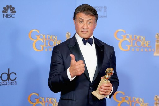 Actor Sylvester Stallone, winner of Best Supporting Performance in a Motion Picture for 'Creed,' poses in the press room during the 73rd Annual Golden Globe Awards held at the Beverly Hilton Hotel.