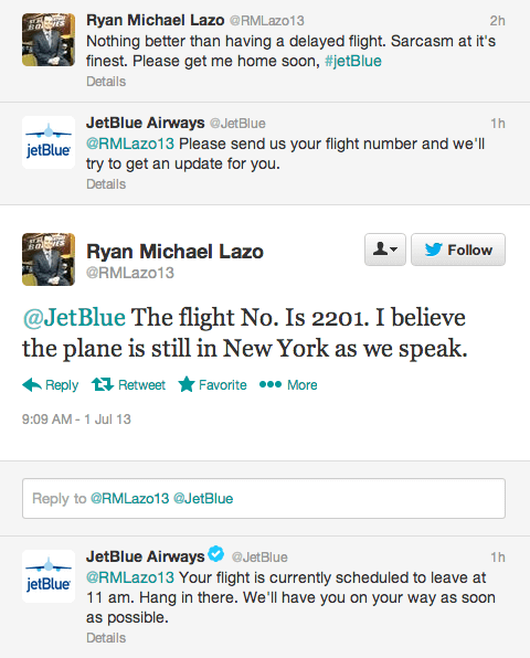 Twitter's New Customer Service Tools Take Hospitality to the Next Level Social Media for Hospitality  jetblue-twitter