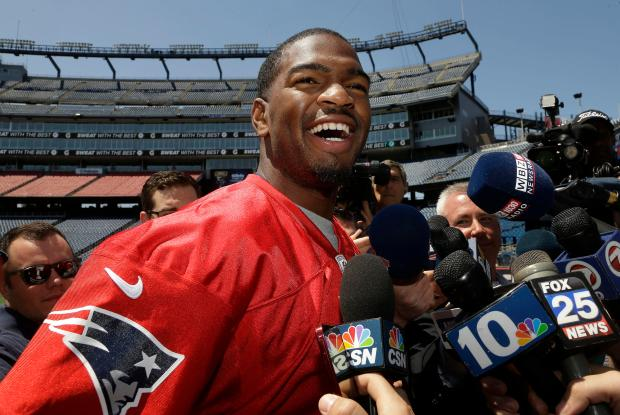 New England Patriots rookie NFL football quarterback Jacoby Brissett speaks with members of the media on the field at Gillette Stadium, Wednesday, May 11, 2016, in Foxborough, Mass. (AP Photo/Steven Senne)