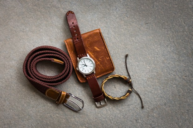 Men's,Accessories,With,Brown,Leather,Wallet,,Belt,And,Watch,On