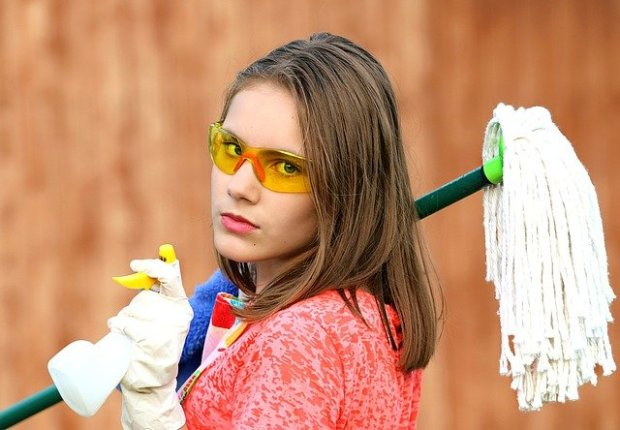 girl with mop