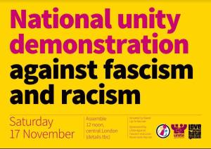 National Unity Demonstration Against Fascism and Racism @ Central London (assembly point to be confirmed)