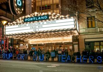 Outside the theater where Portland teachers voted nearly unanimously to authorize a strike (Bette Lee)