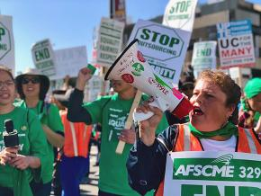 Striking workers demand a living wage and job security at the University of California