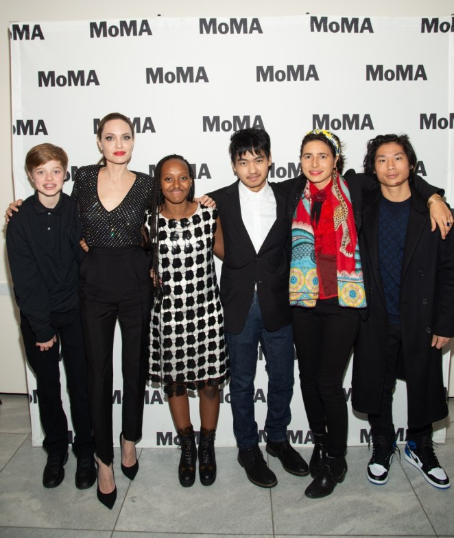 Angelina Jolie and her kids at Opening Night Of MoMA's Doc Fortnight, Premiere Of Prune Nourry's Serendipity