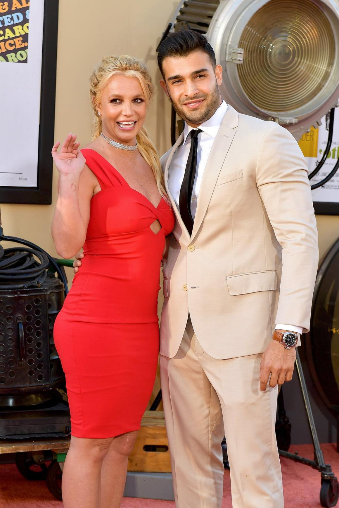 """Britney Spears and Sam Asghari Sony Pictures' """"Once Upon A Time...In Hollywood"""" Los Angeles Premiere - Arrivals"""