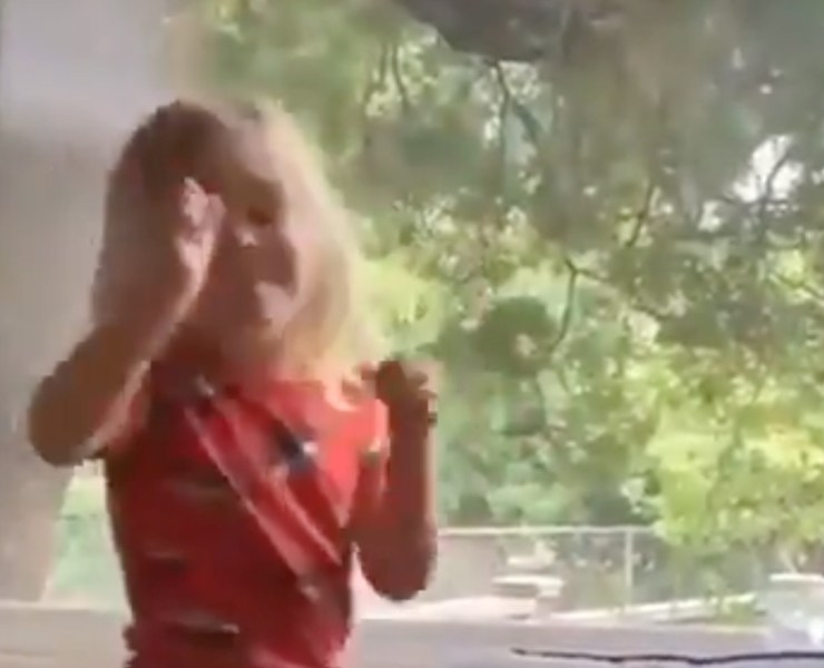 mail carrier dances with little girl