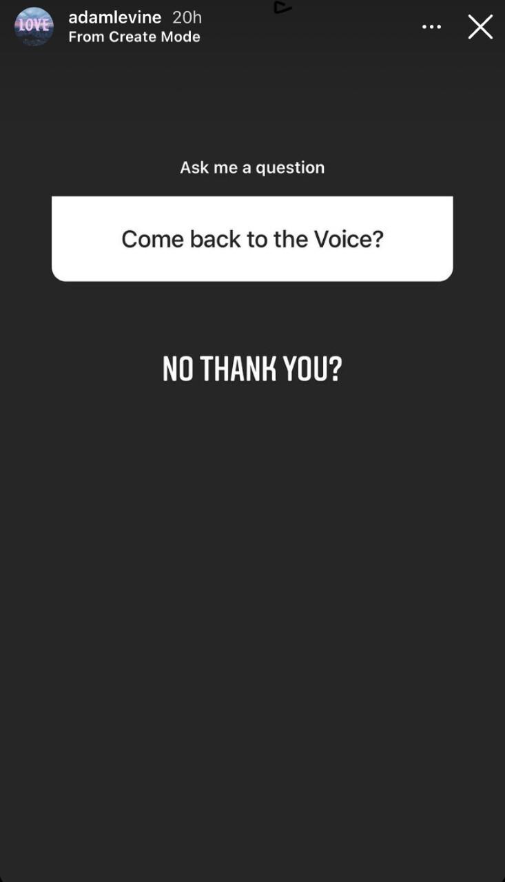Adam Levine response to returning to The Voice