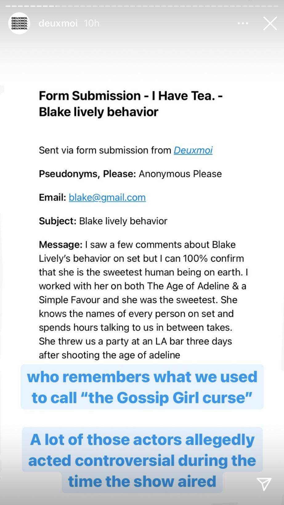 Deux Moi Blake Lively Armie Hammer Gossip Girl post