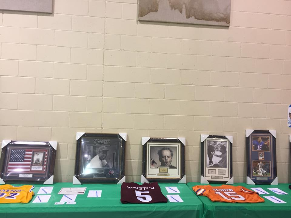 Auction items at St. John's United Methodist Church