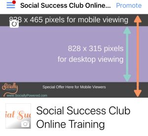Show special offer on Facebook cover image to mobile viewers
